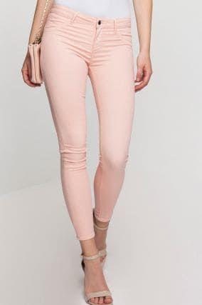 Pantaloni rosa a vita bassa push-up