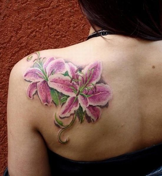 Pink And Blue Lily Tattoos | eyecatchingtattoos.