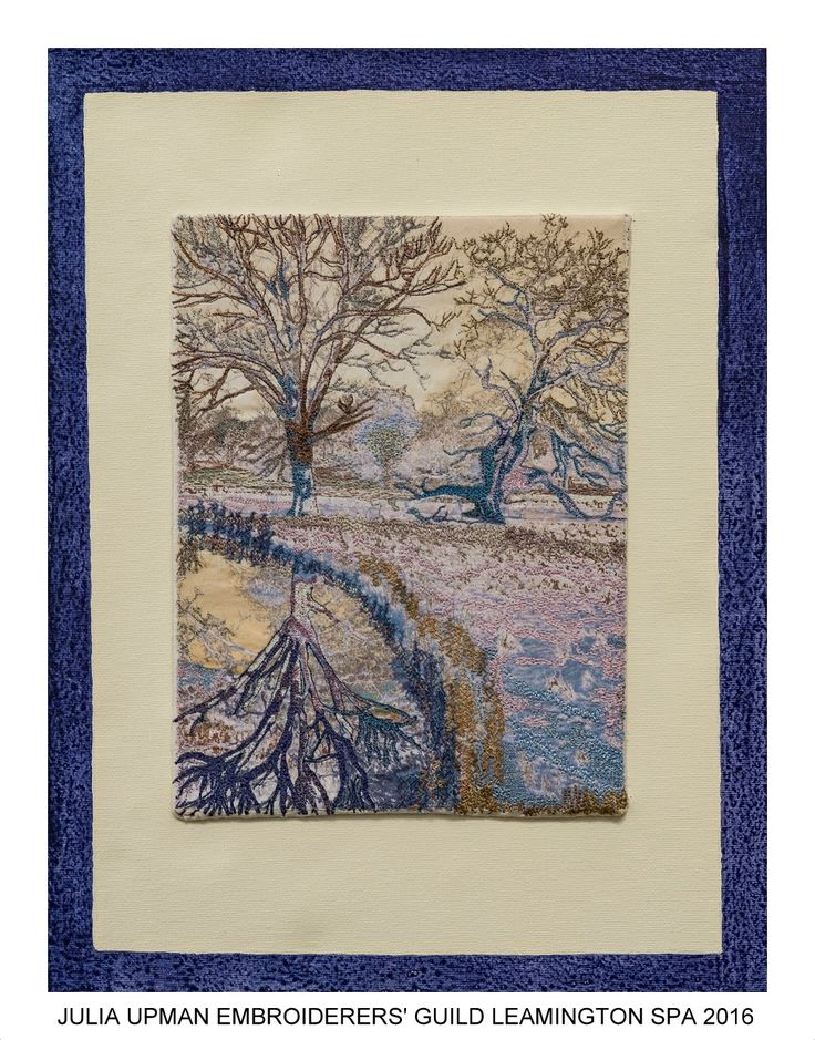 """Reflections"" by Julia Upman member of Embroiderers' Guild Leamington Spa branch. Part of the Guild exhibition at Croome Park 11 April - 30 October 2016 showing work based on Capability Brown's design and the planting at Croome. Exhibition held as part of the UK's Capability Brown Festival"