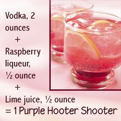 Recipe to make purple hooter shooter drink