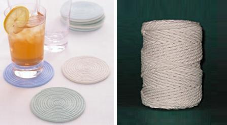 Posavasos hechos con cordón