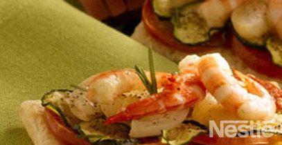 Hojaldre de verduras con gambas marinadas #recetas #nestlecocina