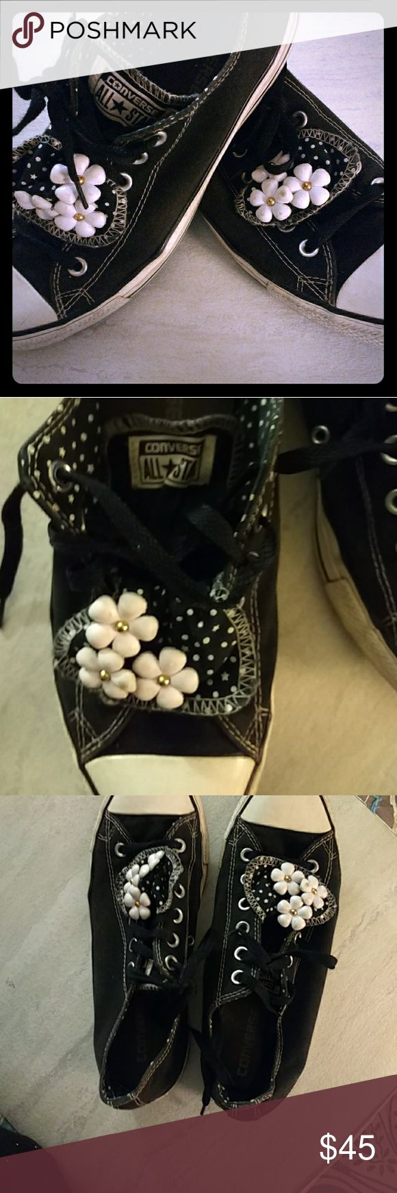 Rare Flower Tongue Converse Double tongue flower converse with black and white pokadots! Super cute! Tongue folds down so flowers show and stays down with laces run thru it and other tongue is normal.. Converse Shoes Sneakers