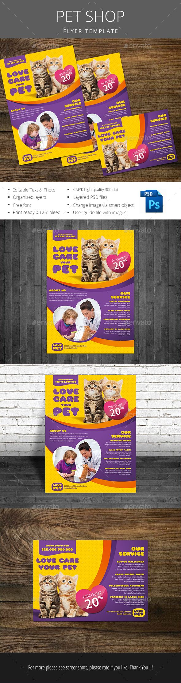 Pet Shop Flyer Template PSD. Download here: http://graphicriver.net/item/pet-shop-flyer/15111717?ref=ksioks