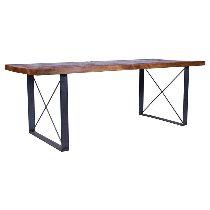 This is a beautiful handmade dining table built in Downtown LA. The reclaimed wood is from architecture in NYC from the late 1800s and early 1900s. The Iron looking base is made of thick recycled steel that has been fabricated out of 1 piece of bent steel to produce two legs. These kitchen tables and benches are incredibly durable and strong - this material has already shown it can last 100s of years. It takes about 10 minutes to put the legs on, and is very easy - they just bolt on. 6 long…