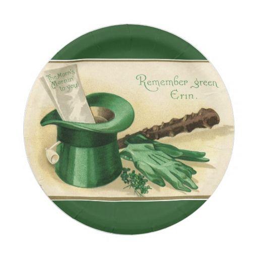 Vintage Green Top Hat Gloves Pipe Shamrock Paper Plate