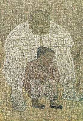 Park Soo-keun, Grandfather and Grandson, 1960s, Oil on Canvas, 65.1x45.5cm, GALLERY HYUNDAI