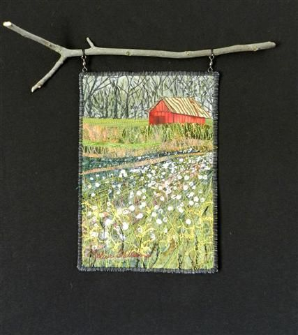 Land of Cotton.  Small landscape art quilt by Eileen Williams.