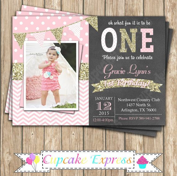 One First Birthday girl coral pink gold chalkboard INVITATION printable by CupcakeExpress on Etsy
