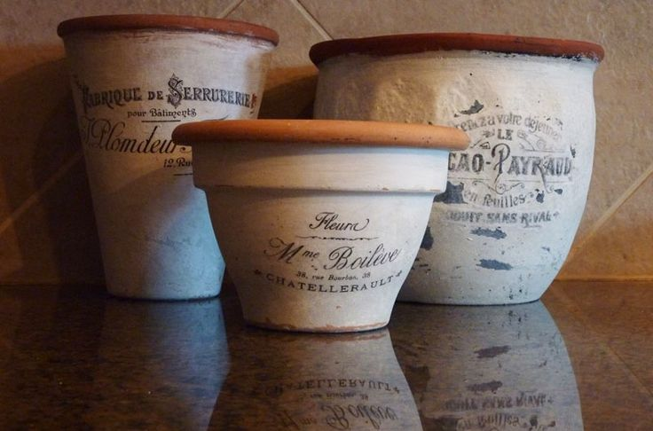 Faux Vintage Flower Pots: Like the aged terra cotta, these are totally fake! (via Kristie Shelton)