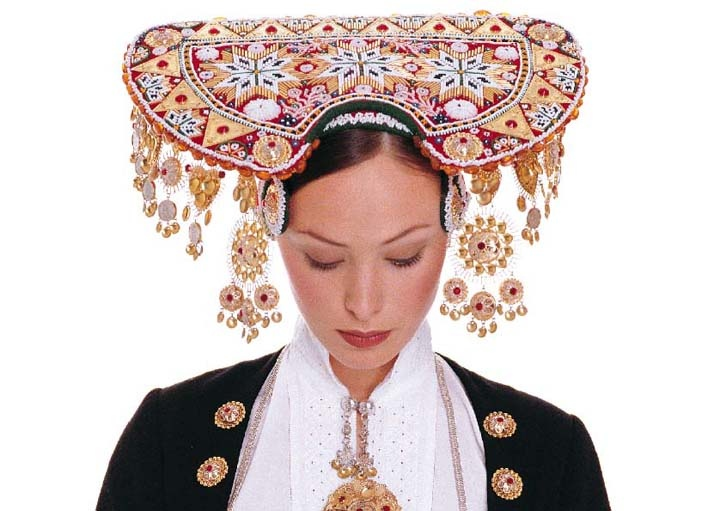 Norwegian Bridal Bunad.  Wow!  How amazing would it be to wear a traditional head dress for your wedding?