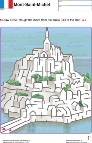 First Grade Mazes Worksheets: Mont Saint Michel Maze