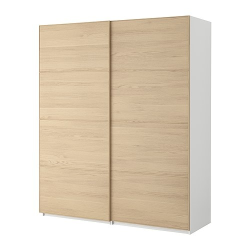 pax wardrobe with sliding doors pax malm white stained oak veneer white 59x17 1 8x93 1 8. Black Bedroom Furniture Sets. Home Design Ideas
