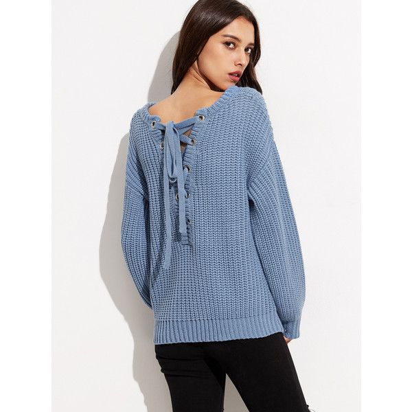 Blue Drop Shoulder Eyelet Lace Up Back Chunky Knit Sweater ($27) ❤ liked on Polyvore featuring tops, sweaters, blue, long sweaters, long jumpers, blue top, drop shoulder tops and long tops