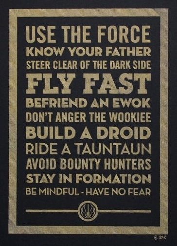 Star Wars 1/2 rules to live by and 1/2 bucket list