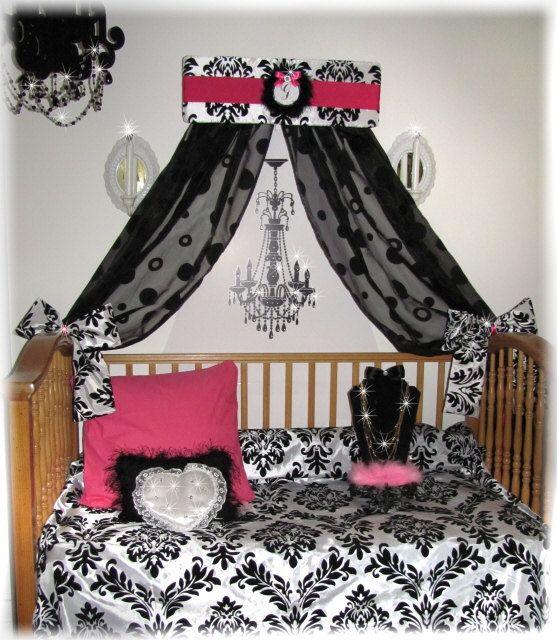 Damask Bed Canopy Girls Room Crib Bedroom Pelmet Teester Decor