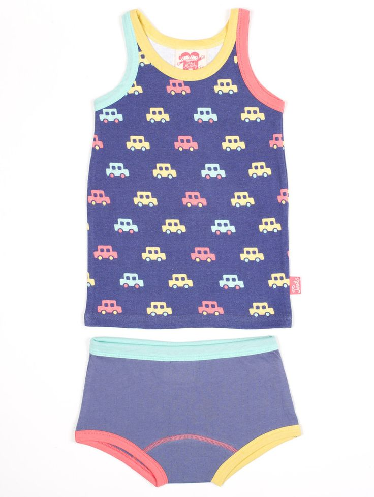 Tootsa MacGinty Queens Vest and Pants Set in Indigo Cars Print