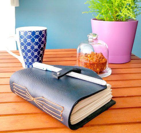 Dark blue  leather journal by B2handmadedesign on Etsy