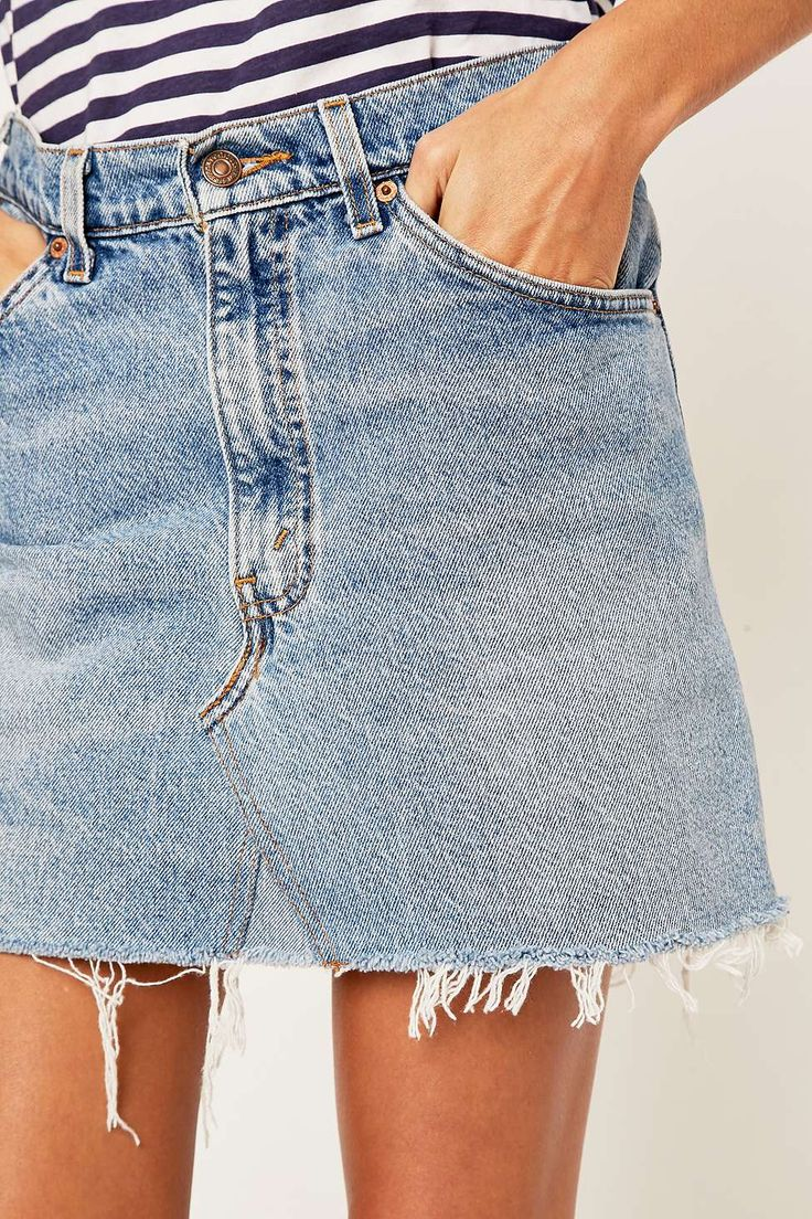 Urban Renewal Vintage Re-Made Levi's Denim Mini Skirt