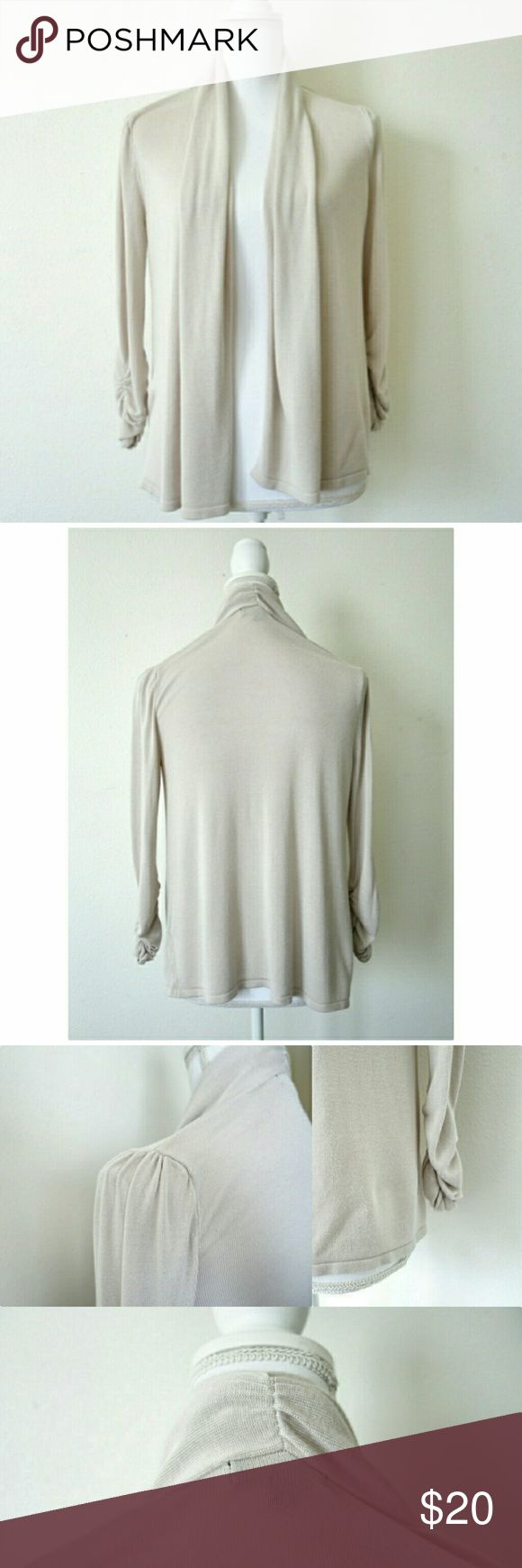 Premise Bone Beige Shawl Collar Cardigan sz M Beautiful open front sweater, lightweight material, rouched sleeves and gathered at the back of the neck. A great neutral staple piece, goes with anything, great for work or weekend. Brand new condition, no tags. Premise Sweaters