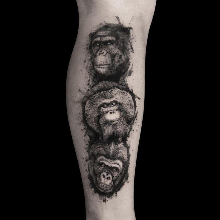 #mulpix ✍️ #tattoo #tattoos #art #artist #illustration #line #sketch #animal #animals #chimp #orangutan #gorilla #black #photo #cesartellezvelasco