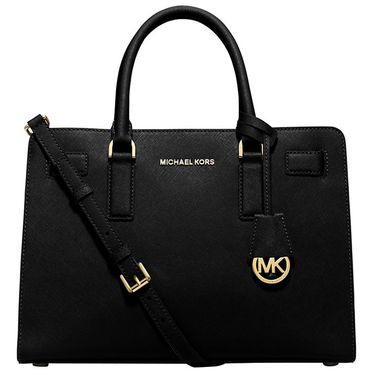Buy MICHAEL Michael Kors Dillon Saffiano Leather Satchel, Black | John Lewis