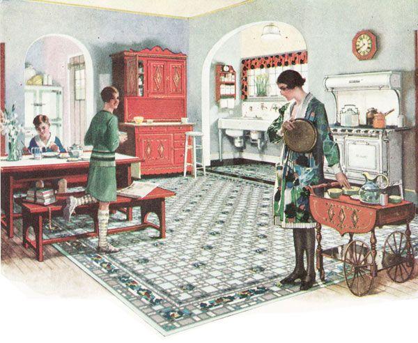131 best images about 1920s on pinterest vintage kitchen for 1920s kitchen floor