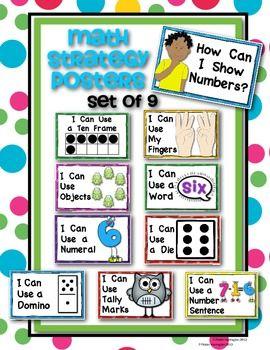 KINDERGARTEN COMMON CORE NUMBER STRATEGY POSTERS: {MATH WORD WALL} - TeachersPayTeachers.com