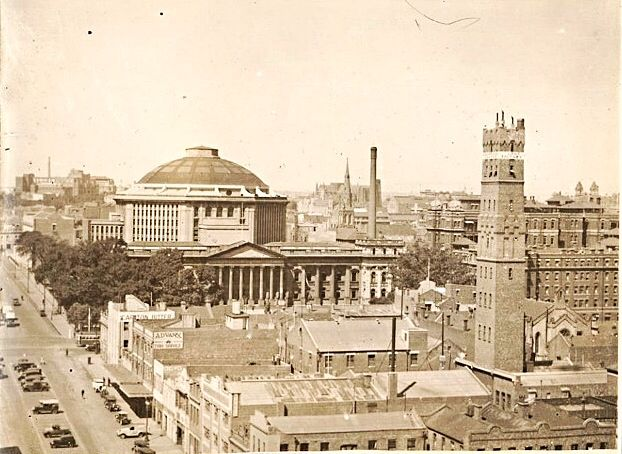 From the Lost Melbourne Facebook page. Looking east up Latrobe Street. Swanston Street, The State Library and Planetarium, the Shot Tower, Queen Victoria Hospital. Early 20th century.