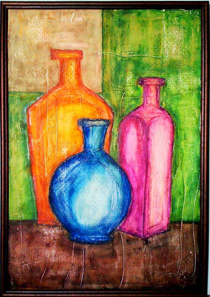 Original acrylic abstract painting mixed technique for How to paint bottles with acrylic