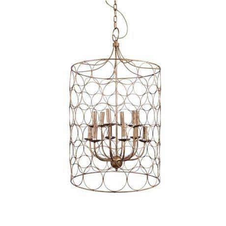 Эта оригинальная люстра создана для высокого потолка и дизайнерской мебели. Не важно, где Вы решите ее повесить – в аутентичном каминном зале, над уютным ярким диваном и креслами, или в стильной, немного небрежной столовой, декорированной эклектичными вещицами – множество свечей, оплетенных кольцами из «старинной» проволоки, зальют светом все пространство, одновременно подчеркнув Ваши любимые детали.