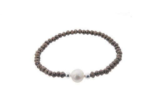 Brown natural stone bracelet with white pearl - Colors: Dark blue ,Golden or blue - Elastic bracelet - 925 Silver - Hand made in Spain by CuchiCuchiSHOP on Etsy