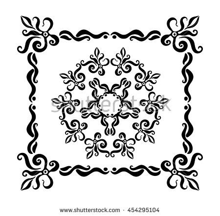 Isolated ornate frame with rosette.Vintage vector design elements. Ink illustration.