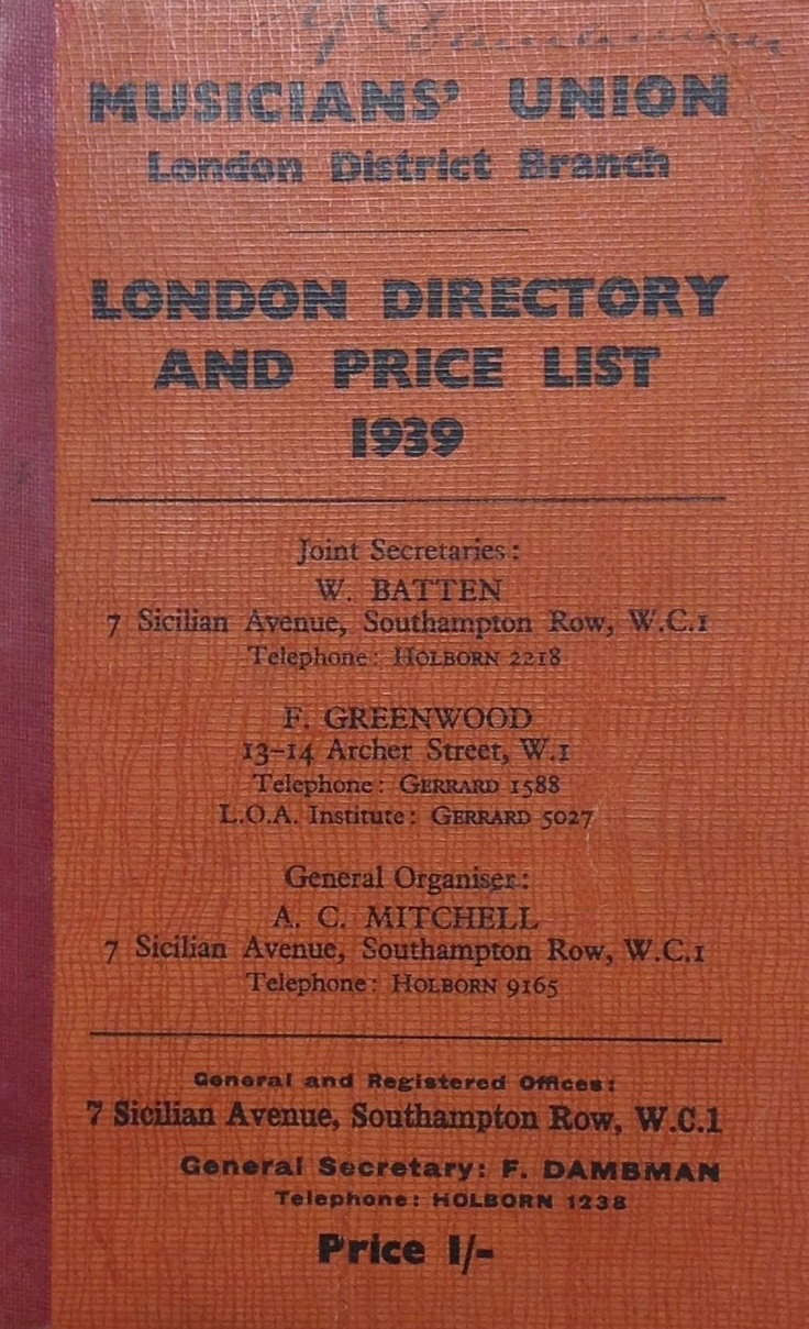 London District directory and price list from 1939 belonging to the Union's then General Secretary, Fred Dambman.