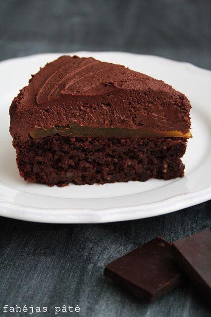 Chocolate mousse cake with orange jelly