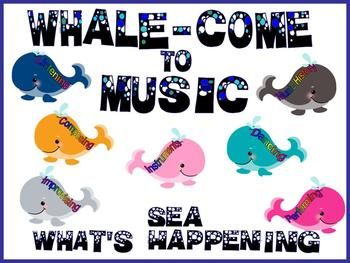 WHALEcome your students to Music Class with this colorful bulletin board.  It…