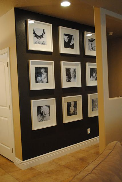 Dark wall, white frames.  Love this for an accent wall!!: Decor Ideas, Black And White, Galleries Wall, Photo Wall, Scrapbook Paper, White Frames, Black Wall, Dark Wall, Accent Wall