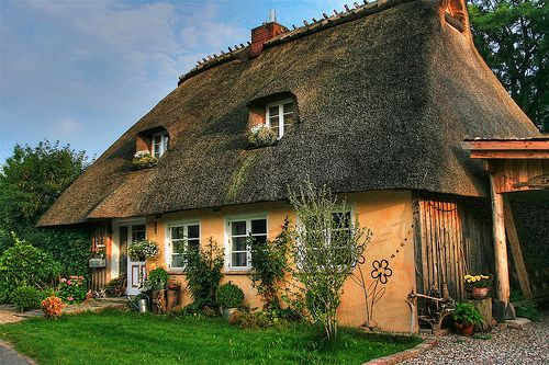The beautiful thatched roofed houses in Schleswig-Holstein, Germany.