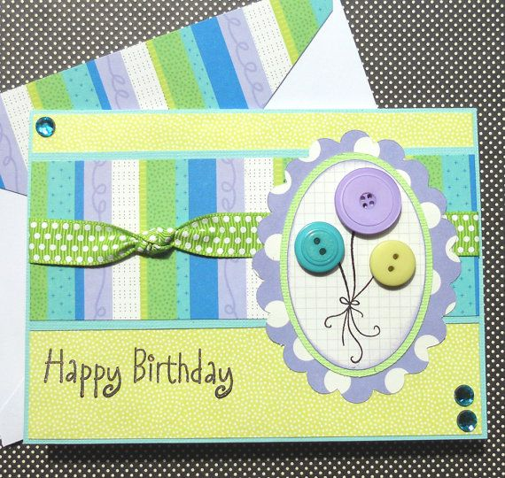 button balloon card: Handmade Birthday Cards, Cards Ideas, Happy Birthday, Baby Cards, Balloon Cards, Cars Accessories, Buttons Balloon, Dreams Cars, Birthday Ideas