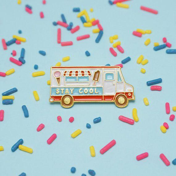 Stay Cool Ice Cream Truck Enamel Pin by luckyhorsepress on Etsy