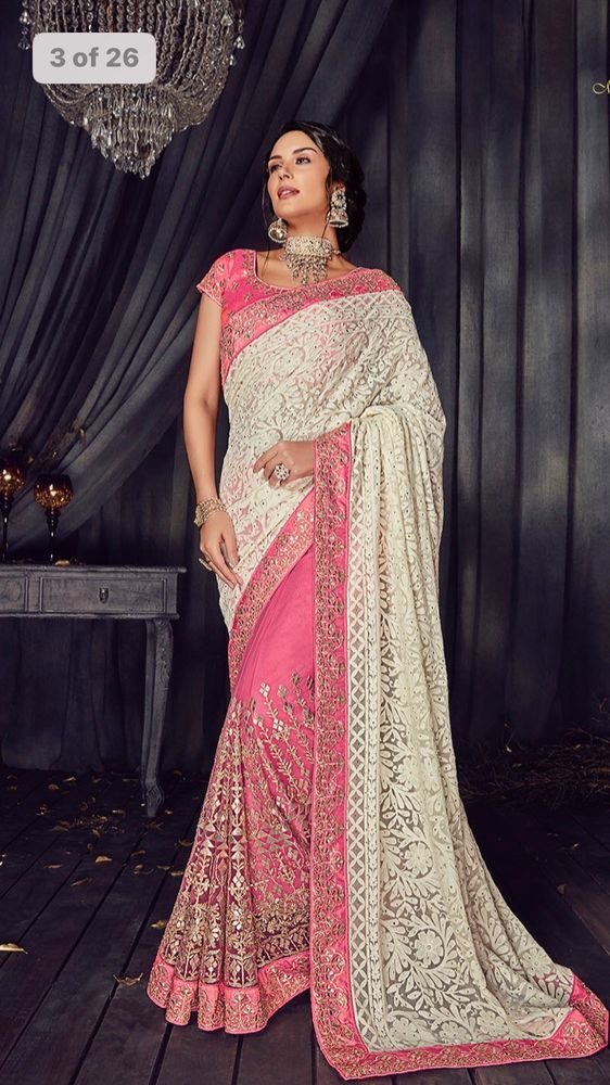 Indian Chikankari Embroidery Bollywood Wedding Wear Saree Gota Patti