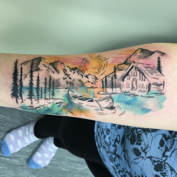 """simple + cute : illustrative + sketchy scenery! #tattoo #tattoos #tattooart…"