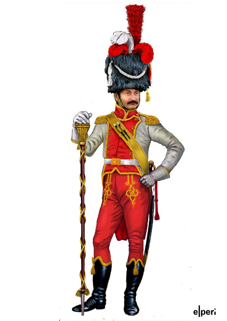 Gran Ducado de Varsovia Tambor mayor del 2 u00ba reg de infanteria Uniformes napoleonicos Gran