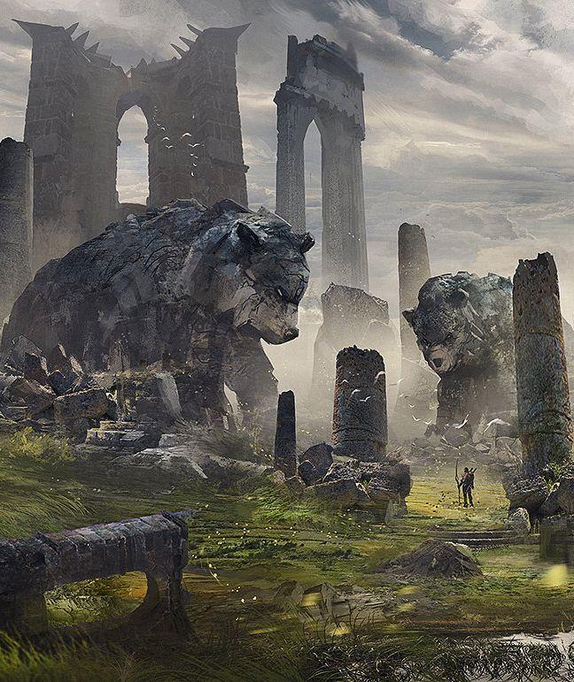 Ruínas de Roldan - Roldan foi uma grande cidade dos elfos florestais na 6a. Era. Famosa por ser integrada com a natureza e protegida pelos poderes dos diversos deuses animais, especialmente o Deus-Urso. Roldan foi destruída na 3a. Guerra Divina, mas suas ruínas ainda existem, no principado de Eriar.