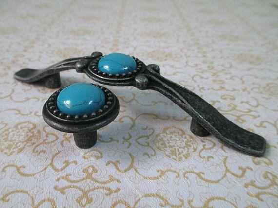 Shabby Chic Dresser Knob Drawer Pulls Handles Knobs Antique Black Turquoise Blue / Kitchen Cabinet Door Handle Pull Furniture Hardware