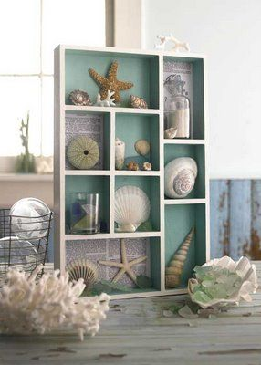 simply naturaL DECOR: Just a little bit beachy like to make this type of shadowbox, nautical, starfish, seashells! Love it. Beach House Decorating