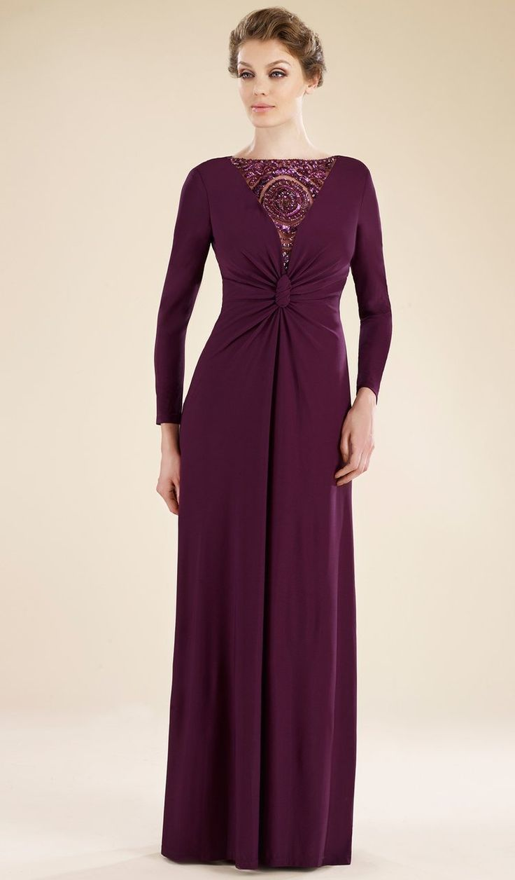 Rina Di Montella - RD1738 Cowl Back Long Sleeve Jersey Formal Dress 1