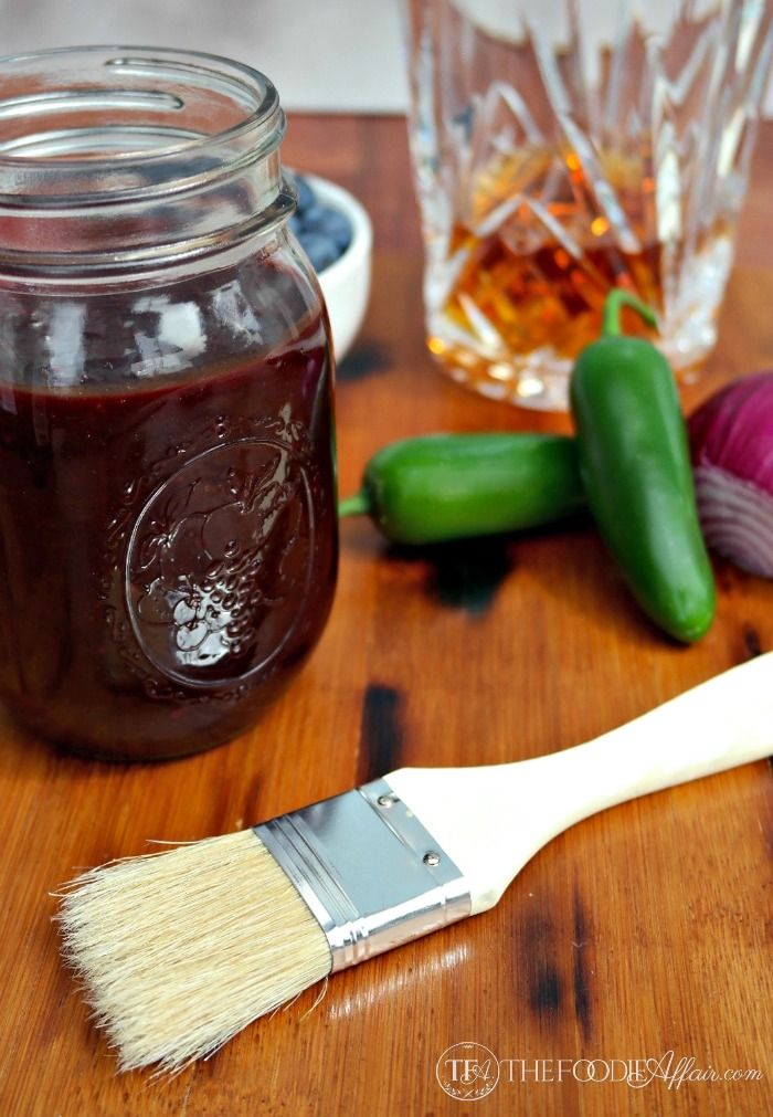 Easy homemade sweet and tangy blueberry bourbon barbecue sauce! Baste this on all your grilled foods. This tastes great on shrimp, pork, beef or poultry!
