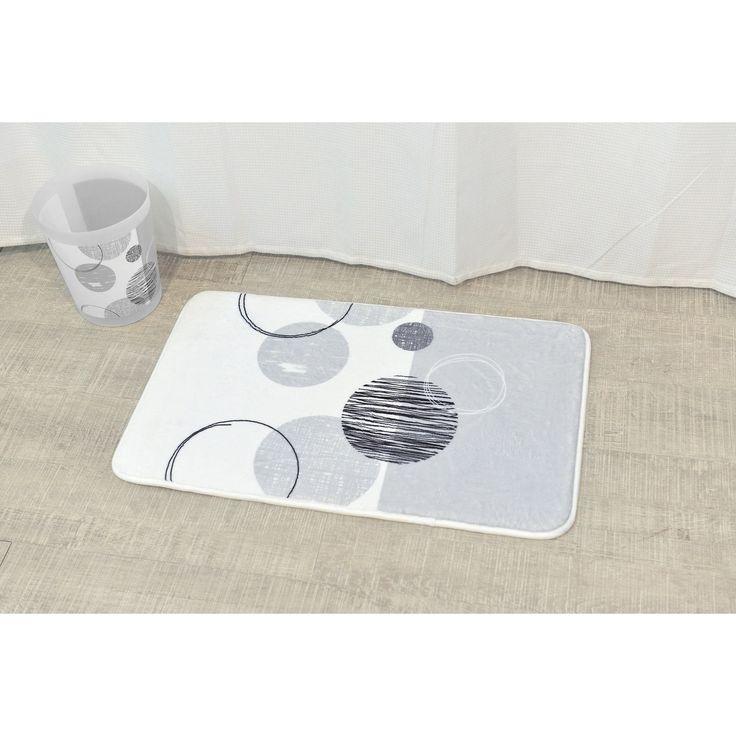 Evideco Microfiber Bath Mat Design Essential Gray White Bath Rug