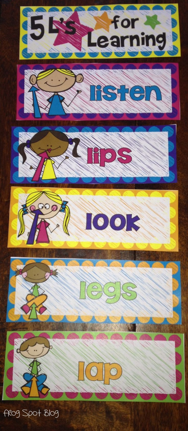5 Ls of Learning - Look, Listen, Lips, Lap and Legs - Posters and Printables $